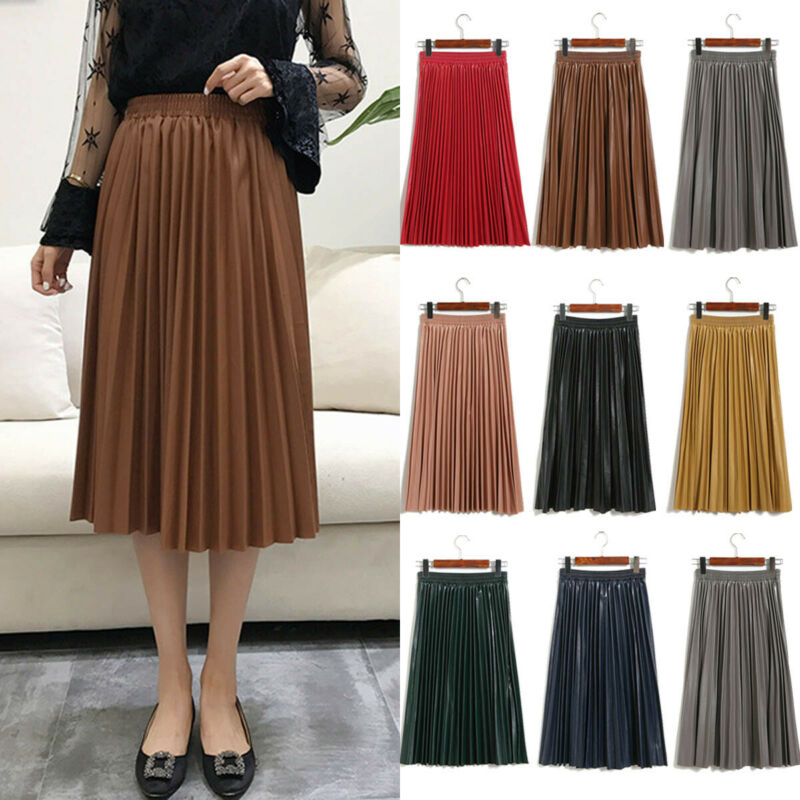 Black High Waist PU Skirts Women High-waist Pleated Leather Skirts Skater Casual Maxi Skirt Pleated Gray Yellow Female Skirt image