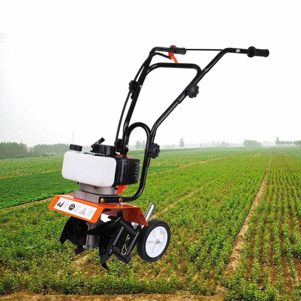 52cc Petrol Garden Mini Tiller 2-Stroke Engine Cultivator Rotavator Lawn Soil