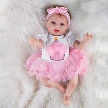 Muñeca de juguete de colores para niñas, juguete de bebé de 22 pulgadas de vinilo, Reborn, traje de tacón alto, suave de silicona, 55 cm, boneca, recién nacido