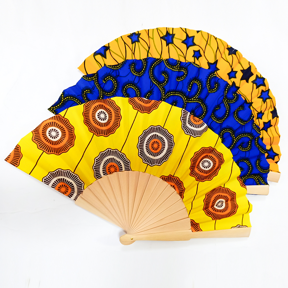 African Fans Handmade Retro Print Ankara Fans Traditional Kente Printing Hand Fan African Ethnic Fan Can Customizable