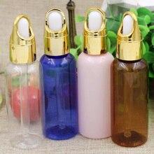 50 мл Пластиковая Золотая крышка косметические эфирные масла бутылка для многоразового использования пустые бутылки для капельницы стеклянная пипетка ароматическая трубка