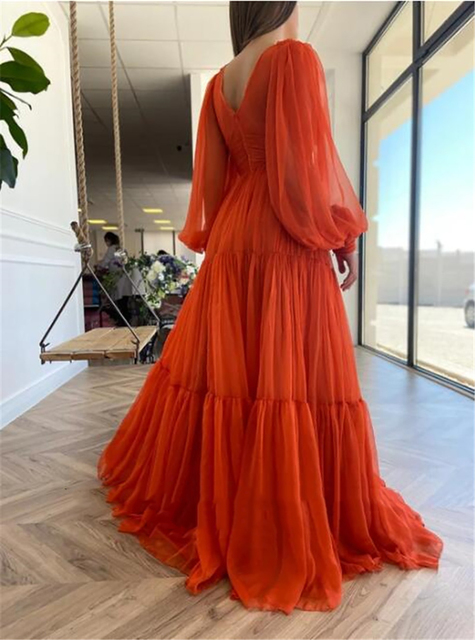 Sevintage Long Puff Sleeves Prom Dresses V-Neck Pleats Chiffon Princess Evening Gowns Women Party Dress Plus Size 2021 2
