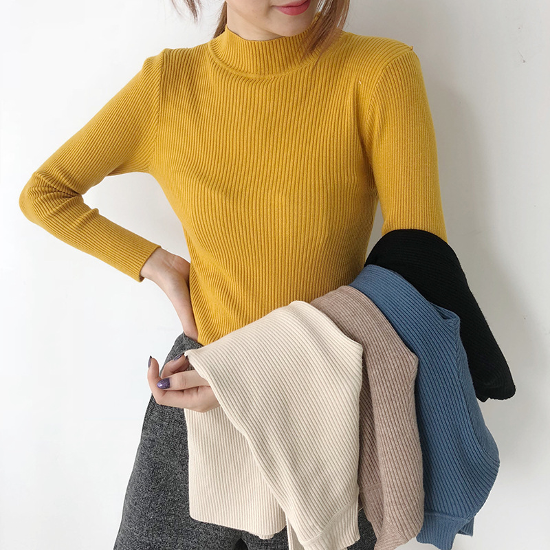 Yellow Black Blue Beige Turtleneck Sweater For Women Spring Knit Tops Women's Thin Pullovers Pull Female Sweater Lady's Jumper