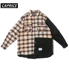 Color Block Patchwork Plaid Long Sleeve Shirts Men Hip Hop Casual Pocket Button Shirts Coats Fashion Streetwear Removable Sleeve color block plaid lapel long sleeve mens shirts