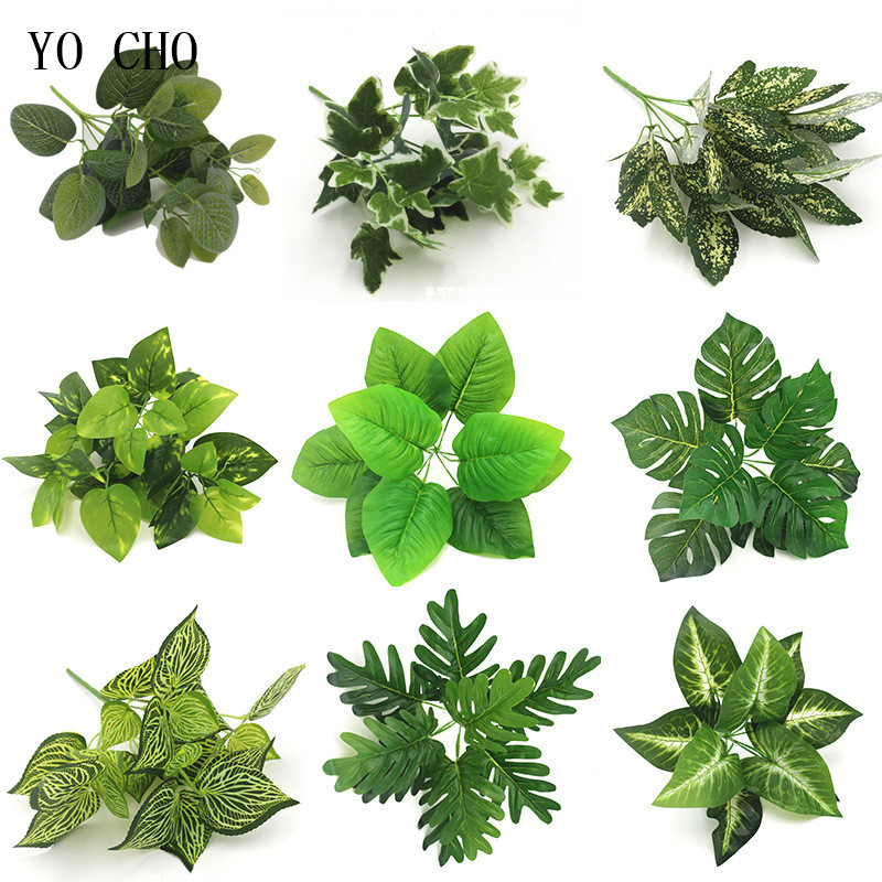 Artificial Flowers Fake Plastic Leaf Garland Foliage Green Plant For Home Garden Wedding Party Decorations Plante Artificielle