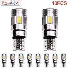 BraveWay 10PCS W5W Turn Signal T10 Led Car Light Bulbs 6000K Clearance Break Lights Dashboard Reading Door Lighting Bulb DC 12V