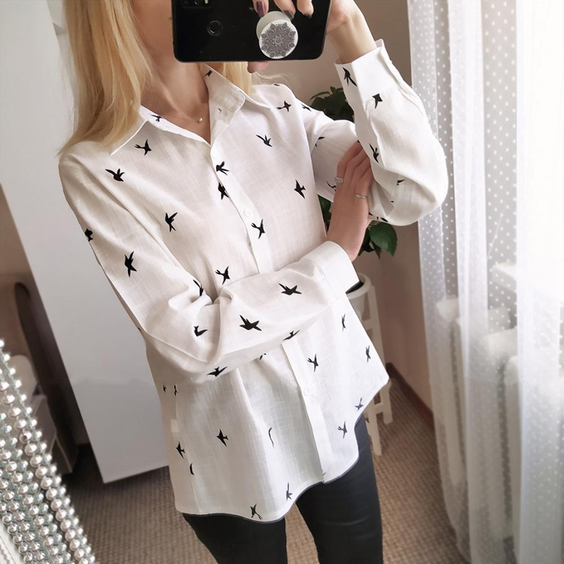 H30c5cb5a1a984d89867ad3441ce26e7cI - Women's Birds Print Shirts 35% Cotton Long Sleeve Female Tops Spring Summer Loose Casual Office Ladies Shirt Plus Size 5XL