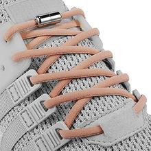 Elastyczne sznurówki których nie trzeba wiązać okrągły metalowy zamek sznurowadła dla dzieci i trampki dla dorosłych szybkie sznurowadła półkole sznurowadła tanie tanio Amduine Stałe Elastic No Tie Shoelaces CGF011 NYLON