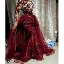 Yepyeni gece Dresses çıkarılabilir etek arap abiye bordo Robe De Soiree 3D çiçekler uzun gece elbisesi zarif