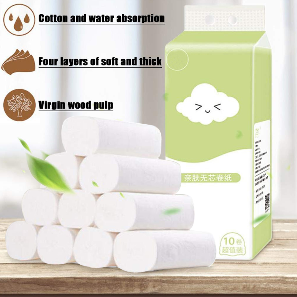 10 Roll Disposable Toilet Paper Roll Soft Printed Bathroom Tissue Coreless White 4-Ply Paper Towels A66