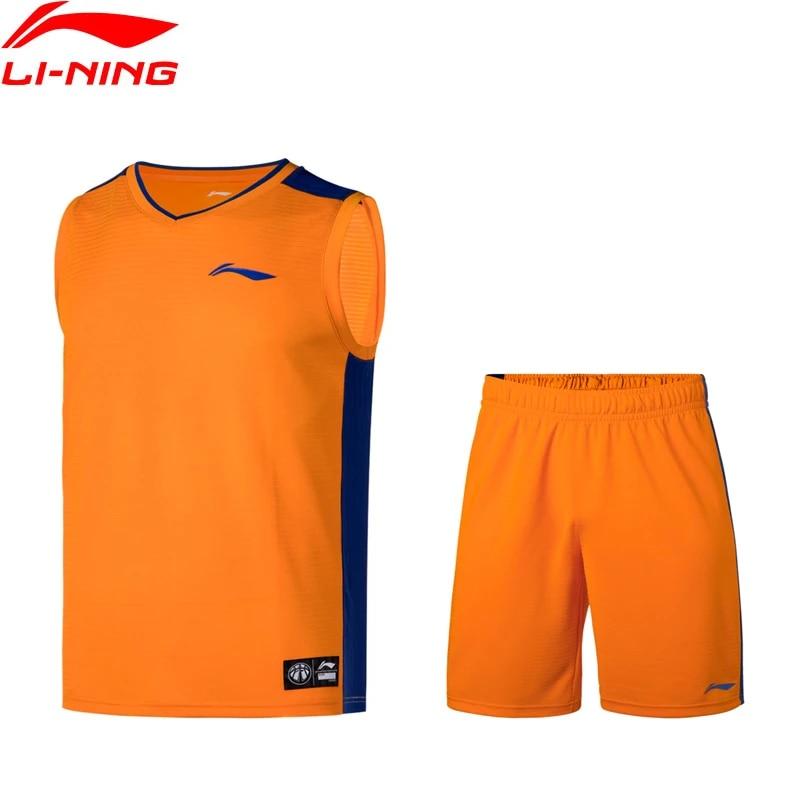 Li-Ning Men Basketball Competition Uniform Suit Regular Fit Polyester LiNing Sports T-Shirts+Shorts li ning Sets AATP067