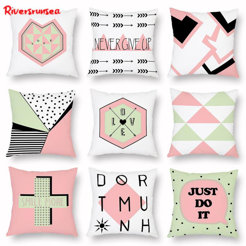 Modern Style Simple Geometric Cushion English Letter Love Office Chair Backrest Pillow Almofada Cojin For Living Room Decoration