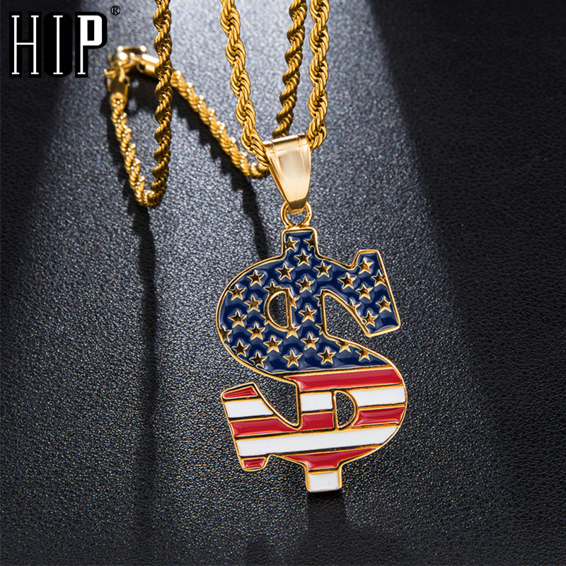 HIP Hop US Dollar American Flag Stainless Steel Star Necklaces Pendants For Men Jewelry With Chain in Pendant Necklaces from Jewelry Accessories