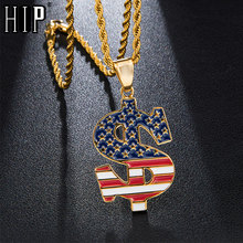 HIP Hop US Dollar American Flag Stainless Steel Star Necklaces & Pendants For Men Jewelry With Chain