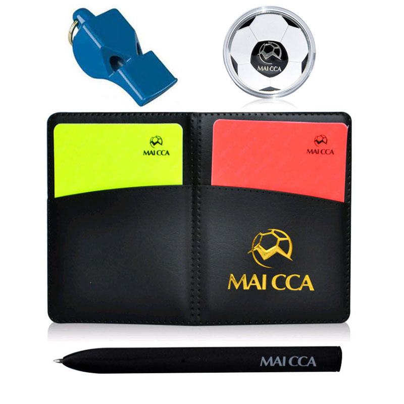 Soccer Referee Coin Whistle Cards With Pen Book Wallet Set Toss Unit Football Training Fair Play Match Sports Equipment