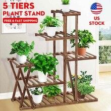 5-Layer Wooden Plant Shelves Rack Display Shelf Home Indoor Outdoor Yard Garden Patio Balcony Flower Planter Pot Stands