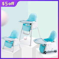 Portable Baby Seat Kids Highchair Feeding Dining Chair Multifunction Adjustable Folding Chairs Play Mat Table with Wheels