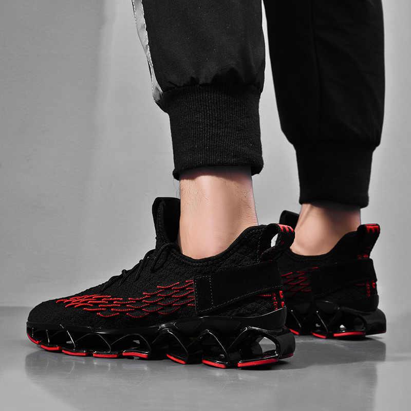 2019 açık yeni yüksek kaliteli erkekler ücretsiz koşu ayakkabıları erkekler için koşu yürüyüş spor dantel-up Athietic nefes bıçak Sneakers
