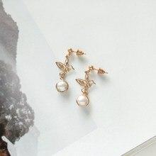 Fashion Hollow Out Metal Bird Earrings Cute/Romantic Women Vintage Hummingbird Stud Pearl Pendientes