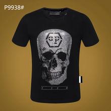 New Men T shirt Black Short Sleeve PP Skull Top Street Sportswear Short Sleeve Men's Plein Shirt Hombre manga corta