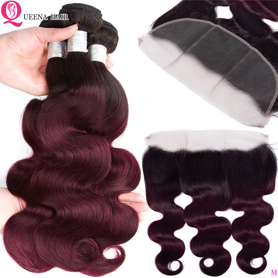 Ombre T1B 99j Bundles With Frontal Closure Remy Peruvian Body Wave Human Hair Bundles With Frontal T1B 99j Bundles With Frontal