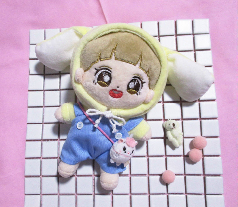 [MYKPOP]KPOP Doll's Clothes And Accessories: Bunny Hooded Sweatshirt + Overalls 2pcs Set For 20cm &15cm Dolls SA19102902