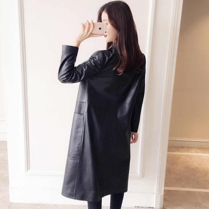 ของแท้ 100% สำหรับผู้หญิงฤดูใบไม้ผลิฤดูใบไม้ร่วงคลาสสิกยาวหญิง Lapel Slim Sheepskin Coat สตรี Outwear