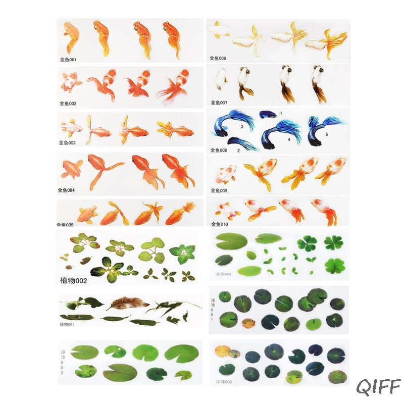 16 Pcs/set DIY Crystal Epoxy Filler 3D Resin Painted Goldfish Leaf Duckweed Filling Crafts Making Material Sticker