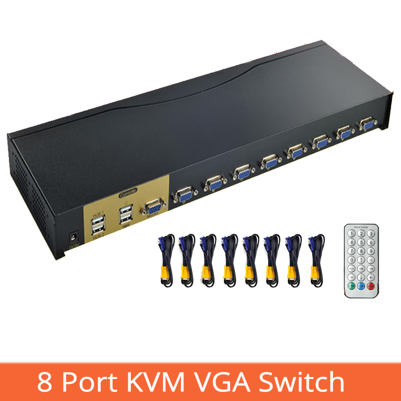 8 Port KVM Switch HD VGA USB Sharer  Projector Video Display Mouse Keyboard Remote Control Switcher   8 In 1 Out 1920 * 1440