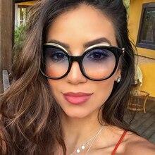 QPeClou Vintage Unique Cheetah Round Sunglasses Women Fashio