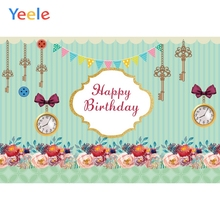 Yeele Photocall Flowers Clock Keys Baby Birthday Poster Photography For Background Customized Photographic Backdrop Photo Studio