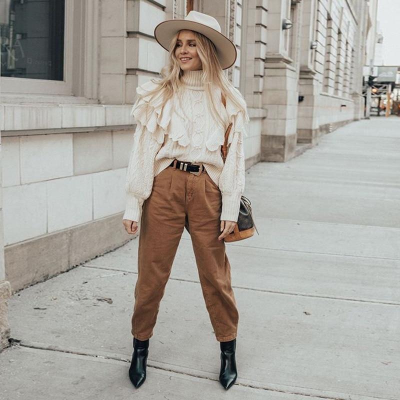 Jeans Woman 2020 Loose Casual Harem Pants boyfriends Mom Jeans Streetwear Denim Pants Women Pleated Trousers