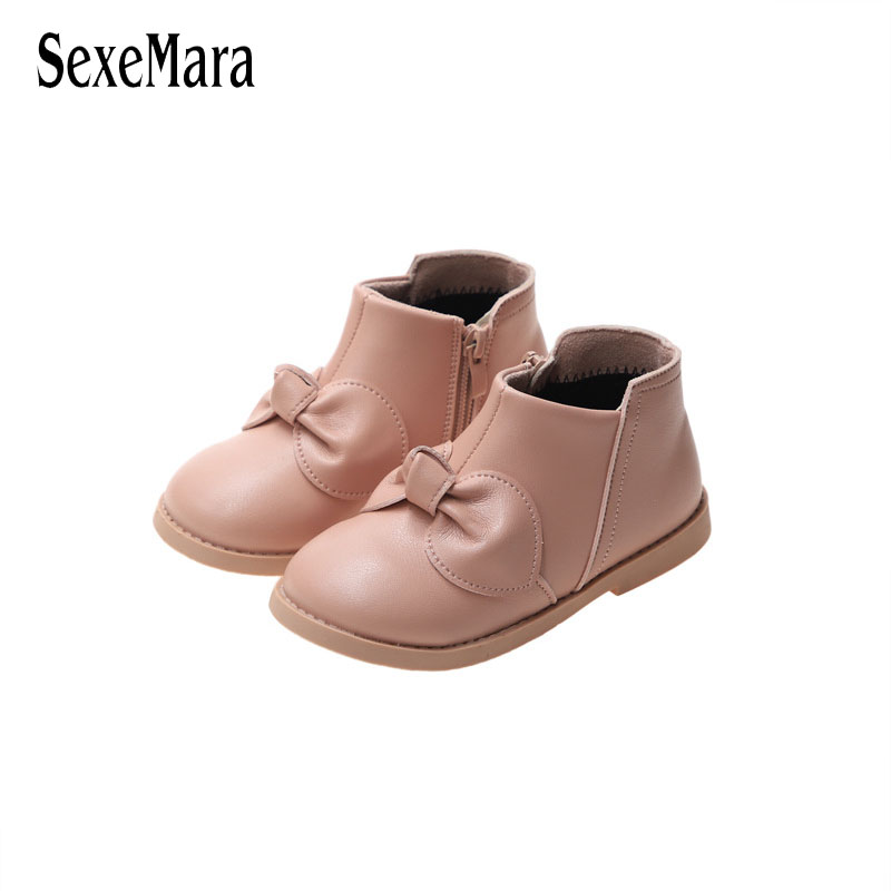 Girls Boots 2019 Autumn New Children's Shoes Lovely Bow Tie Black/Beige/Pink Cotton Short Boots Baby Soft Bottom Sneakers C10061