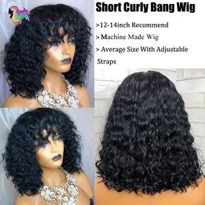 Image 2 - Brennas insan saçı peruk kısa kıvırcık Bob kahküllü peruk brezilyalı saç makine yapımı peruk siyah kadınlar için insan Remy saç peruk 150% D