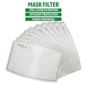 10/50/100 pçs/lote para crianças/adulto 5 camadas pm2.5 filtro de papel anti haze boca máscara não-tecido filtro de carvão ativado papel