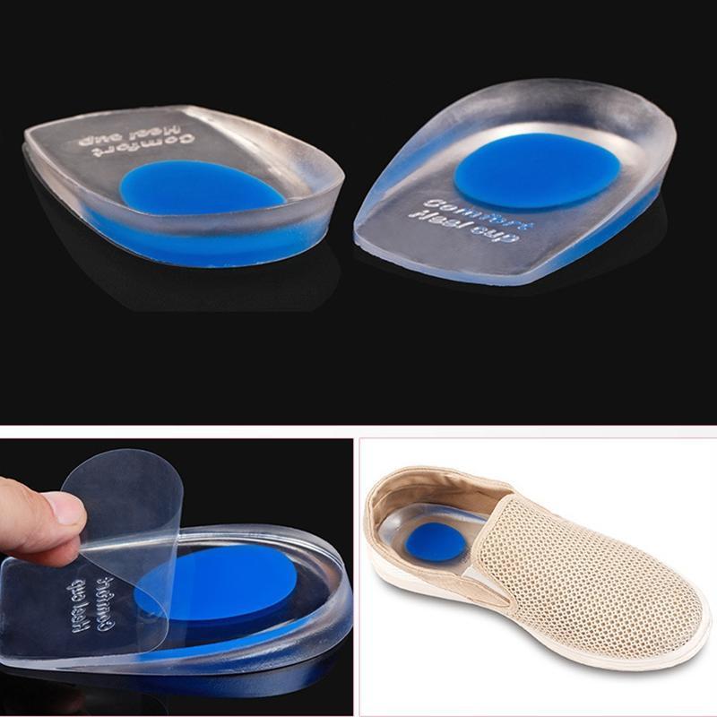 Silicone Heel Cup Pads Gel Heel Cups Plantar Fasciitis Socks Inserts Foot Care Anti-pain Comfort Women Men Shock Insole