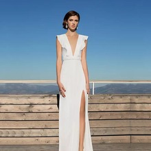 Eightree Satin Wedding Dress V-neck Ruffles A-line Bride Sleeveless Sexy Side Slit 2019 Vestido de noiva