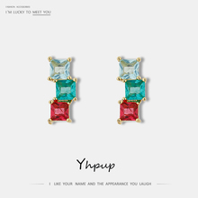 Yhpup Fashion Colorful Square Cubic Zirconia Stud Earrings Small Tiny Earrings Bijoux En Argent 925 for Girl Women Accessories цена