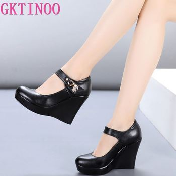 GKTINOO 2020 Spring Autumn Genuine Leather Women's Fashion High Heels Pumps Wedges Black Color Female Platform Shoes Large size krazing pot recommend autumn cow leather wedges thick bottom high heels straw sole pumps lace up mixed color oxford shoes l92