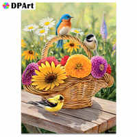 Daimond Painting Full Square/ Round Drill Flower Basket Birds Countryside Diamond Embroidery Crystal Cross Stitch Mosaic A307