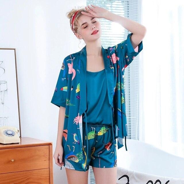 2019 חדש 3 PCS נשים פיג מה סטי עם מכנסיים סקסי Pyjama סאטן פרח הדפסת Nightwear משי חלוק הלבשת Pyjama