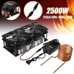 2500W 1800W ZVS indukcyjny moduł tablicy grzewczej grzejnik sterownika Flyback z cewką + podwójny wentylator  zestaw zasilający|Magnetyczne nagrzewnice indukcyjne|   -