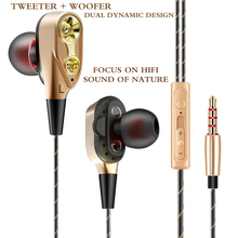 Original FGR6 In-Ear Metal wired sport earphone dual dynamic unit stereo bass Earbuds With Microphone for iPhone xiaomi phones