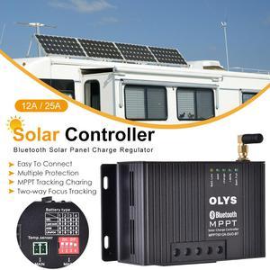 Controlador de carga Solar 12A/25A 12V MPPT, regulador de carga de Panel Solar Bluetooth, carga de batería Dual