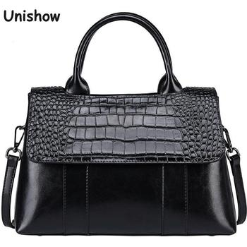 Crocodile Pattern Split Leather Women Handbag Large Cow Female Totes Brand Designer Business Shoulder Bag