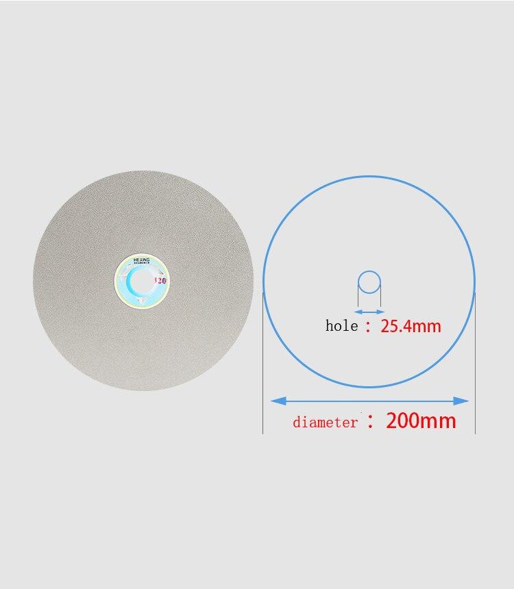 Diameter 200mm Hole 25.4mm 50-2000# Diamond Coated Flat Lap Wheel Lapidary Polishing Grinding Disc Jade Stonge Polishing
