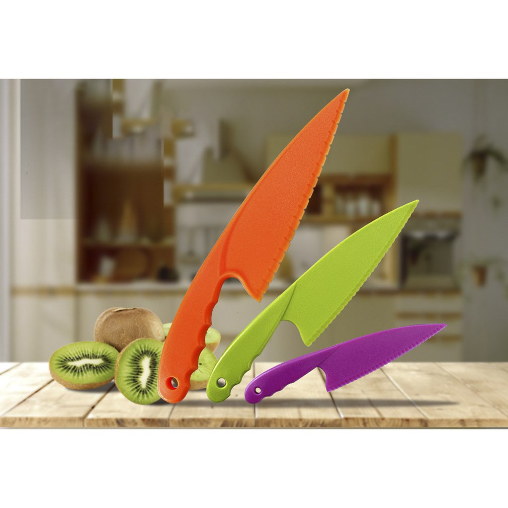 Children's Plastic Fruit Knife Birthday Cake Knife Cake <font><b>Holder</b></font> <font><b>Cheese</b></font> Dessert Knife Bread Knife Cake Tools image