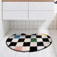 Bathroom Rug Bean Shape Grid Mat Fluffy Entrance Carpet Area Floor Pad Doormat Tidy Aesthetic Home Room Decor Rugs