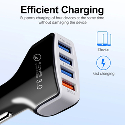 Kebidu Multifunction Car Charger QC 3.0 Car Charger 4 Ports Fast Car phone Charger Phone Car USB Charger for Phone Car-Charger