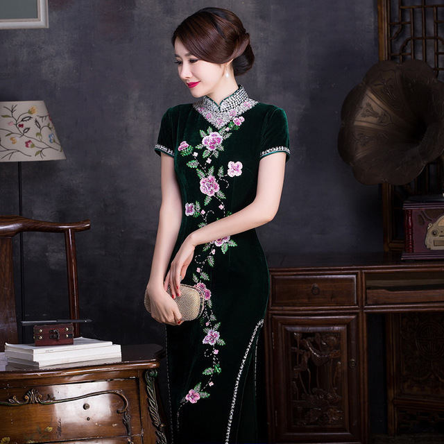 sequins high collar short sleeve dress hem long embroidered velvet cheongsam boutique wholesale womens clothing